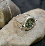 Judaean Bronze Coin 103-76 Bc Set In Modern Sterling Silver Swivel Ring