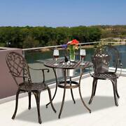 3pc Patio Bistro Furniture Set Outdoor Garden Iron And Table Chair /w Ice Bucket