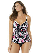 Swimsuits For All Women's Plus Size Tie Front Underwire Tankini Set - 20, Pink