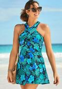 Swimsuits For All Womenand039s Plus Size High Neck Wrap Swimdress