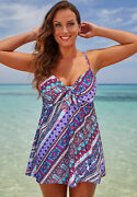 Swimsuits For All Women's Plus Size Cup Sized Tie Front Underwire Swimdress