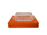 Early American Prescut Butter Dish Cover Lid Vtg Anchor Hocking Cut Glass Eapc