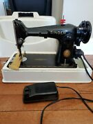 Antique Singer Model 201 Sewing Machine With Case/foot Pedal