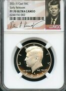 2021 S Clad Kennedy Half Dollar Early Releases Ngc Pf70 Ultra Cameo Signature
