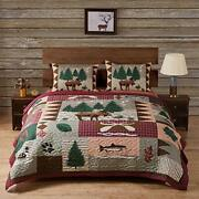 Greenland Home Moose Lodge Quilted Bedding Set King Natural