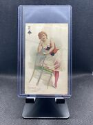 1890 N457 Trumps Long Cut Playing Cards Blue Back - 2 Of Clubs