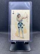 1890 N457 Trumps Long Cut Playing Cards Blue Back - 5 Of Clubs