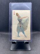 1890 N457 Trumps Long Cut Playing Cards Blue Back - 3 Of Diamonds