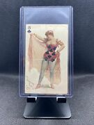1890 N457 Trumps Long Cut Playing Cards Blue Back - 8 Of Clubs