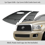 Fits 2008-2012 Toyota Sequoia Main Upper + Lower Bumper Stainless Billet Grille