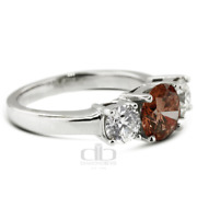 1.38ct Tw Red Si1 Round Natural Certified Diamonds Plat Classic Three Stone Ring