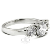 1.44 Ct D/si1 Round Natural Certified Diamonds 18k Gold Classic Three Stone Ring