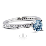 1.72 Ct Blue Si2 Round Natural Certified Diamonds 14k Classic Side Stone Ring