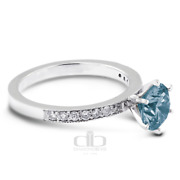1.32 Ct Blue Si1 Round Natural Certified Diamonds 18k Classic Engagement Ring