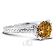 1.33 Ct Brown Si1 Round Natural Diamonds 18k Vintage Style Engagement Ring
