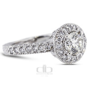 1.91 Ct D/si1 Round Earth Mined Certified Diamonds 18k Gold Halo Side Stone Ring