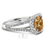 1.93 Ct Brown Si1 Round Earth Mined Certified Diamonds 18k Halo Side Stone Ring