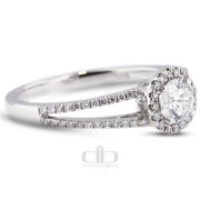 0.83ct Tw H/vs2 Round Earth Mined Certified Diamonds 18k Gold Halo Accent Ring