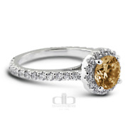 1.74 Ct Brown Si1 Round Earth Mined Certified Diamonds Plat Halo Side Stone Ring