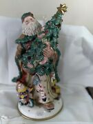 Fitz And Floyd. Damask Christmas Largesanta Centerpiece Lighted Ht. 20 Inches...