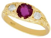 Vintage Ruby And Diamond Ring In 18k Yellow Gold Size 5 3/8