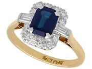 1.85 Ct Sapphire And 0.34 Ct Diamond 18 Ct Yellow Gold Dress Ring Vintage
