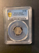 Danish West Indies Silver 10 Skilling 1845 Superb Gem Uncirculated Pcgs Ms65