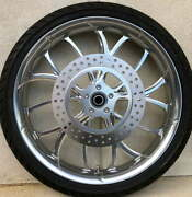 Electron Grey And Polished 21 X 3.5 Front Wheel Matching Rotors Tire 00-20 Bagger
