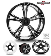 Fierce Contrast Cut Platinum 18 Fat Front And Rear Wheels Only 00-07 Bagger