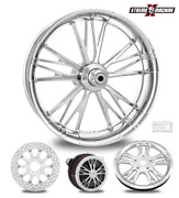 Execute Chrome 18 Fat Front And Rear Wheels Tires Package 13 Rotor 00-07 Bagger