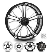 Dixon Contrast Cut Platinum 23 Front Wheel Tire Package 13 Rotor 00-07 Bagger