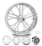 Dixon Chrome 18 Fat Front And Rear Wheels, Tires Package Dual Rotors 09-19 Bagger