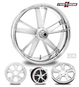 Performance Machine Charger Chrome 23 Front Wheel And Tire Package 08-19 Bagger