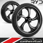 Rollin Starkline 21 Front And Rear Wheels, Tires Package Dual Rotors 09-19 Bagger