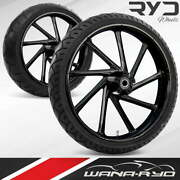 Kinetic Blackline 23 Fat Front And Rear Wheels Tires Package 09-19 Bagger