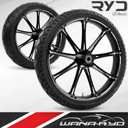 Ryd Wheels Ion Starkline 21 Fat Front And Rear Wheels Tires Package 00-07 Bagger