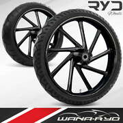 Kinetic Blackline 23 Fat Front And Rear Wheels Tires Package 00-07 Bagger
