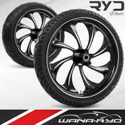 Twisted Starkline 23 Fat Front And Rear Wheels Tires Package 09-19 Bagger