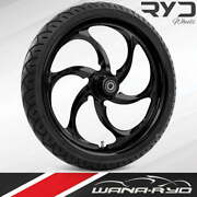 Reactor Blackline 21x5.5 Fat Front Wheel And Tire Package 00-07 Harley Touring