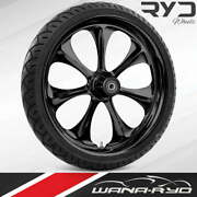 Atomic Blackline 21 Fat Front Wheel Tire Package Dual Rotors 08-19 Bagger