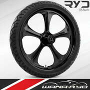 """Adrenaline Blackline 23 X 5.0"""" Fat Front Wheel And Tire Package 00-07 Bagger"""