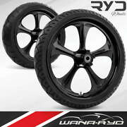 Adrenaline Blackline 23 Fat Front And Rear Wheels Tires Package 00-07 Bagger
