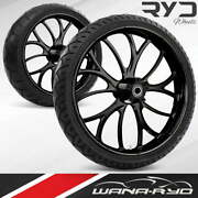 Electron Blackline 21 Fat Front And Rear Wheels Tires Package 00-07 Bagger