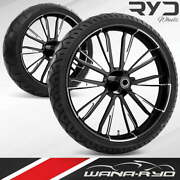 Resistor Starkline 21 Fat Front And Rear Wheels Tires Package 00-07 Bagger