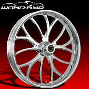 """Ryd Wheels Electron Chrome 23 X 5.0"""" Fat Front Wheel And Tire Package 00-07 Bagger"""