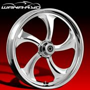 Rollin Chrome 18 Fat Front And Rear Wheels Tires Package 13 Rotor 09-19 Bagger