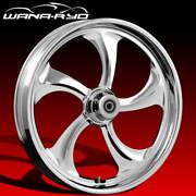 Ryd Wheels Rollin Chrome 21 Fat Front And Rear Wheels Tires Package 09-19 Bagger