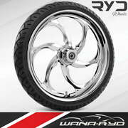 """Ryd Wheels Reactor Chrome 23 X 5.0"""" Fat Front Wheel And Tire Package 00-07 Bagger"""