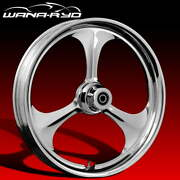 Ryd Wheels Amp Chrome 23 Fat Front And Rear Wheels Tires Package 00-07 Bagger