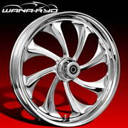 """Ryd Wheels Twisted Chrome 23 X 5.0"""" Fat Front Wheel And Tire Package 00-07 Bagger"""